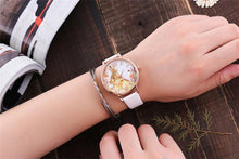 PINK BUNNY RABBIT LEATHER WRIST WATCH WITH ROSE GOLD DIAL