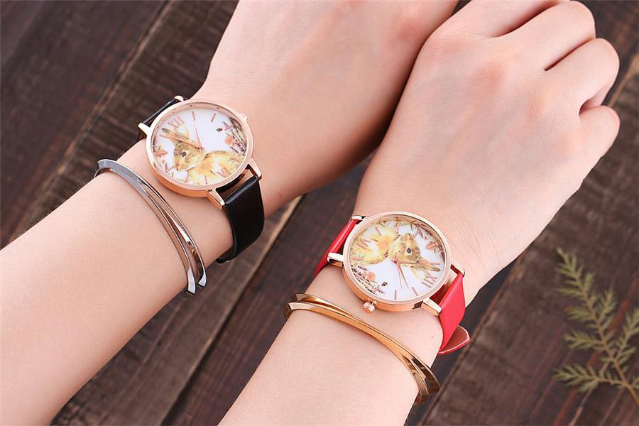 A-SHU BLACK BUNNY RABBIT LEATHER WRIST WATCH WITH ROSE GOLD DIAL - A-SHU.CO.UK