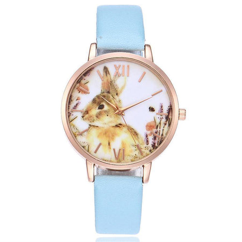 LIGHT BLUE BUNNY RABBIT LEATHER WRIST WATCH WITH ROSE GOLD DIAL