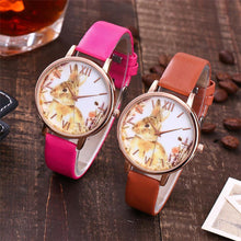 A-SHU BROWN BUNNY RABBIT LEATHER WRIST WATCH WITH ROSE GOLD DIAL - A-SHU.CO.UK
