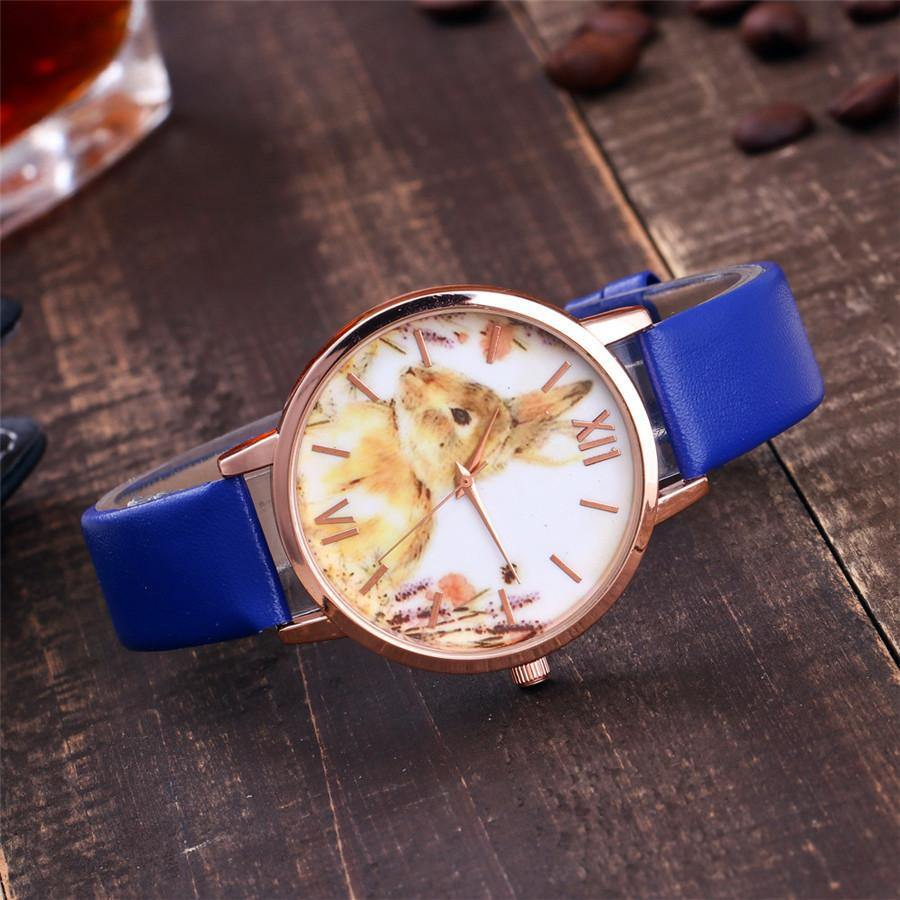 A-SHU BLUE BUNNY RABBIT LEATHER WRIST WATCH WITH ROSE GOLD DIAL - A-SHU.CO.UK