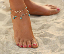 SILVER DOUBLE LAYER TURQUOISE BEAD INFINITY ANKLET / ANKLE BRACELET