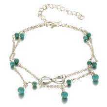 A-SHU GOLD DOUBLE LAYER TURQUOISE BEAD INFINITY ANKLET / ANKLE BRACELET - A-SHU.CO.UK