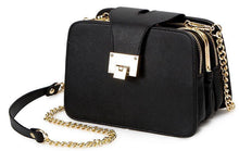 A-SHU BLACK MULTI-COMPARTMENT CROSS-BODY HANDBAG WITH CHAIN STRAP - A-SHU.CO.UK