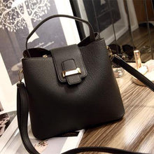 SMALL BLACK HOLDALL HANDBAG WITH LONG SHOULDER STRAP