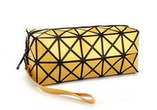 A-SHU BRIGHT GREEN GEOMETRIC FOLDING COSMETIC MAKE-UP BAG - A-SHU.CO.UK