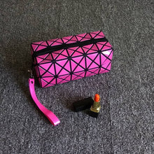 A-SHU BLACK GEOMETRIC FOLDING COSMETIC MAKE-UP BAG - A-SHU.CO.UK