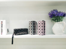 A-SHU PALE PINK GEOMETRIC FOLDING COSMETIC MAKE-UP BAG - A-SHU.CO.UK