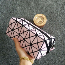 PURPLE GEOMETRIC FOLDING COSMETIC MAKE-UP BAG