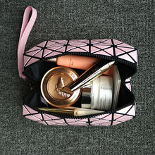 SILVER GEOMETRIC FOLDING COSMETIC MAKE-UP BAG