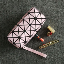 YELLOW GEOMETRIC FOLDING COSMETIC MAKE-UP BAG