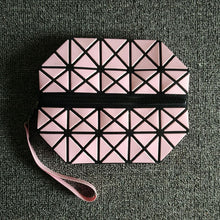 A-SHU FUSHCIA PINK GEOMETRIC FOLDING COSMETIC MAKE-UP BAG - A-SHU.CO.UK