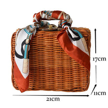 SMALL STRAW TRUNK BAG / CROSS-BODY BAG WITH SCARF AND LONG STRAP