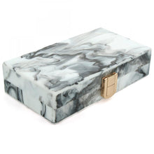 MARBLE PRINT HARD-BACK CLUTCH BAG WITH LONG CHAIN LINKED SHOULDER STRAP