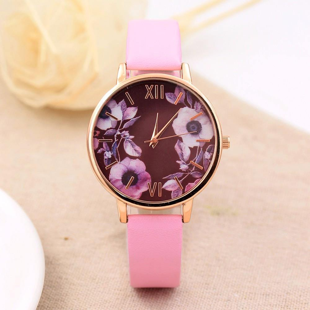 A-SHU PINK FLORAL DESIGN QUARTZ WRIST WATCH - A-SHU.CO.UK