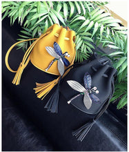 SMALL YELLOW DRAWSTRING CROSS-BODY BAG WITH EMBELLISHED DRAGON FLY