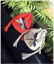 A-SHU SMALL RED DRAWSTRING CROSS-BODY BAG WITH EMBELLISHED DRAGON FLY - A-SHU.CO.UK