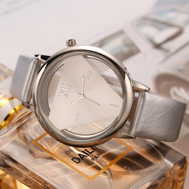 A-SHU HOLLOW QUARTZ LEATHER STRAP WRIST WATCH - SILVER - A-SHU.CO.UK