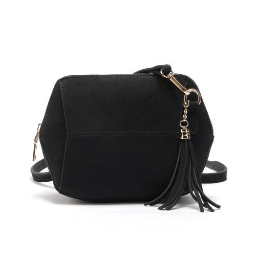 SMALL BLACK FAUX SUEDE CROSS-BODY TASSEL BAG