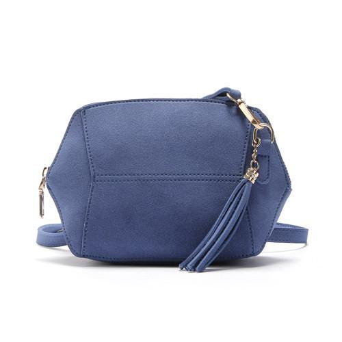 A-SHU SMALL BLUE FAUX SUEDE CROSS-BODY TASSEL BAG - A-SHU.CO.UK
