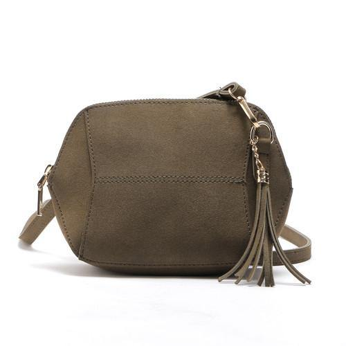 SMALL KHAKI GREEN FAUX SUEDE CROSS-BODY TASSEL BAG