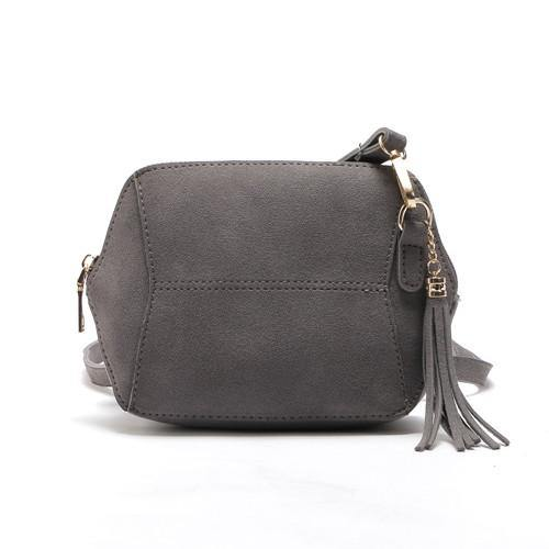 SMALL GREY FAUX SUEDE CROSS-BODY TASSEL BAG