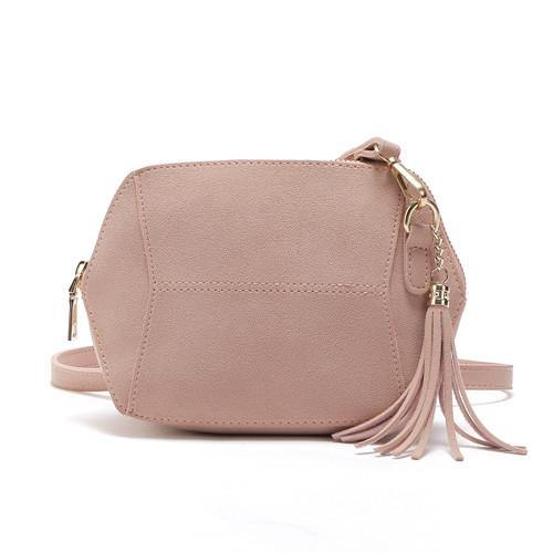 SMALL BLUSH PINK FAUX SUEDE CROSS-BODY TASSEL BAG