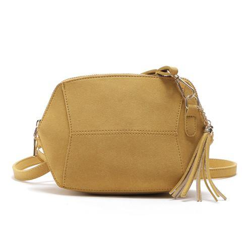 SMALL YELLOW FAUX SUEDE CROSS-BODY TASSEL BAG