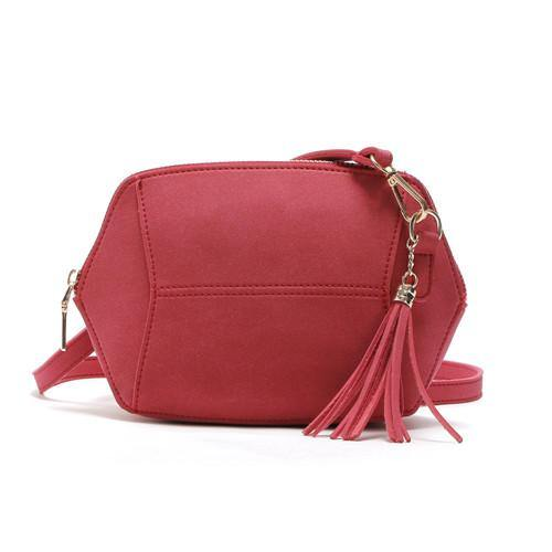 SMALL RED FAUX SUEDE CROSS-BODY TASSEL BAG