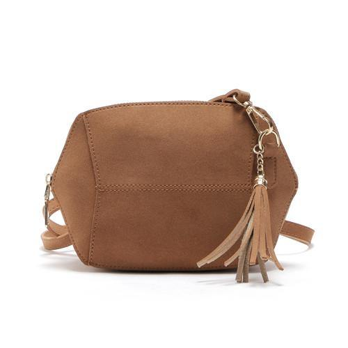A-SHU SMALL BROWN FAUX SUEDE CROSS-BODY TASSEL BAG - A-SHU.CO.UK
