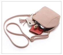 SMALL BROWN FAUX SUEDE CROSS-BODY TASSEL BAG