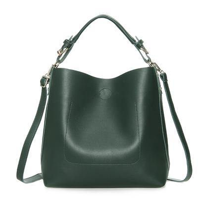 A-SHU GREEN SIMPLE HOLDALL HANDBAG WITH DETACHABLE INNER BAG AND LONG STRAP - A-SHU.CO.UK