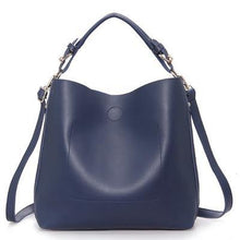 NAVY BLUE SIMPLE HOLDALL HANDBAG WITH DETACHABLE INNER BAG AND LONG STRAP