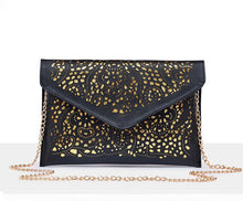 LARGE PINK CUT OUT ENVELOPE SHAPED CROSS-BODY CLUTCH BAG WITH CHAIN STRAP