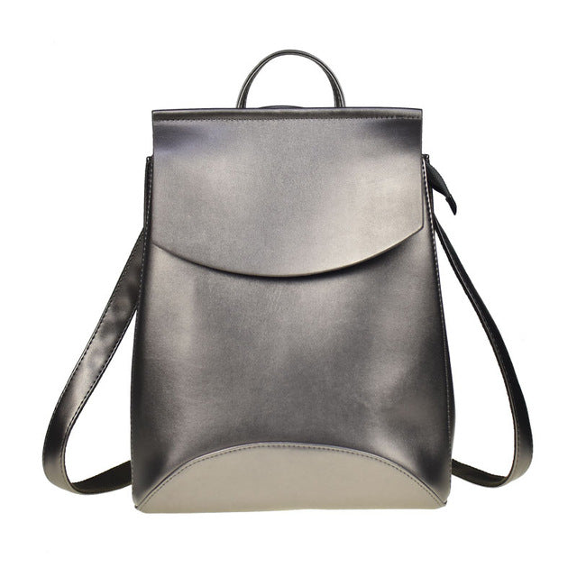 PLAIN DARK SILVER SMART FAUX LEATHER EFFECT BACKPACK / RUCKSACK