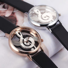 A-SHU HOLLOW MUSICAL NOTE LEATHER STRAP QUARTZ WRIST WATCH - BLACK SILVER - A-SHU.CO.UK