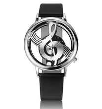 A-SHU HOLLOW MUSICAL NOTE LEATHER STRAP QUARTZ WRIST WATCH - WHITE ROSE GOLD - A-SHU.CO.UK