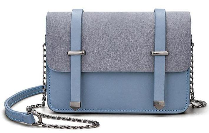 SMALL BLUE MULTI-COMPARTMENT CROSS-BODY SATCHEL BAG WITH CHAIN STRAP