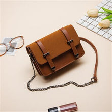 SMALL BROWN MULTI-COMPARTMENT CROSS-BODY SATCHEL BAG WITH CHAIN STRAP