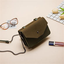 SMALL GREEN MULTI-COMPARTMENT CROSS-BODY SATCHEL BAG WITH CHAIN STRAP