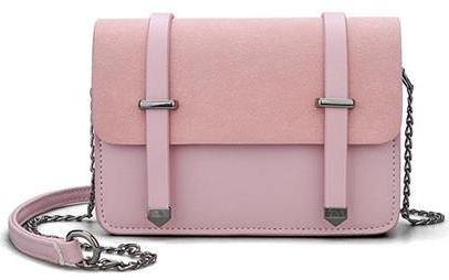 SMALL PINK MULTI-COMPARTMENT CROSS-BODY SATCHEL BAG WITH CHAIN STRAP