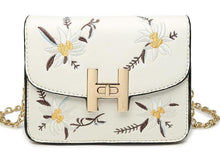SMALL GREY DESIGNER STYLE FLORAL EMBROIDERED CROSS-BODY SHOULDER BAG WITH CHAIN STRAP