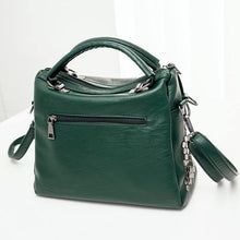A-SHU GREEN MULTI-COMPARTMENT HOLDALL HANDBAG WITH LONG SHOULDER STRAP - A-SHU.CO.UK