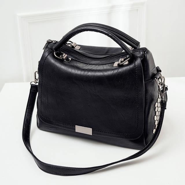 A-SHU BLACK MULTI-COMPARTMENT HOLDALL HANDBAG WITH LONG SHOULDER STRAP - A-SHU.CO.UK