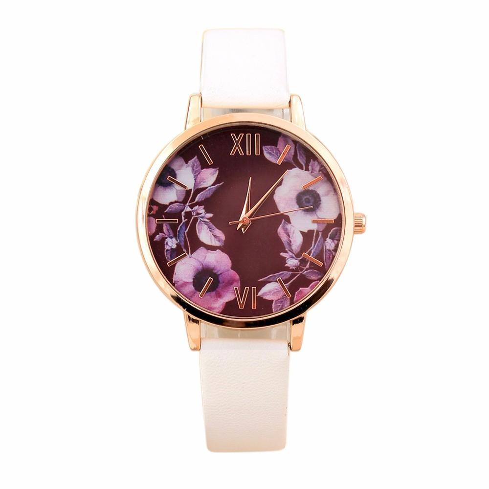 A-SHU MID BLUE FLORAL DESIGN QUARTZ WRIST WATCH - A-SHU.CO.UK