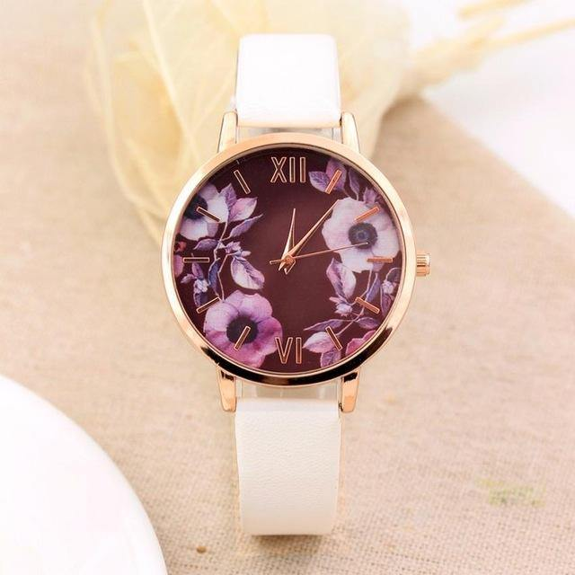 OFF WHITE FLORAL DESIGN QUARTZ WRIST WATCH