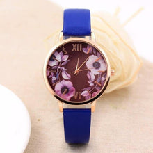 A-SHU BLUE FLORAL DESIGN QUARTZ WRIST WATCH - A-SHU.CO.UK