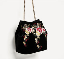 A-SHU BLACK VELVET EMBROIDERED SHOULDER HANDBAG WITH CHAIN STRAP - A-SHU.CO.UK