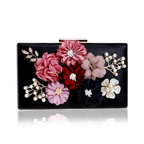 A-SHU GOLDEN BEIGE 3-D FLORAL EMBELLISHED PEARL CLUTCH BAG WITH LONG STRAP - A-SHU.CO.UK