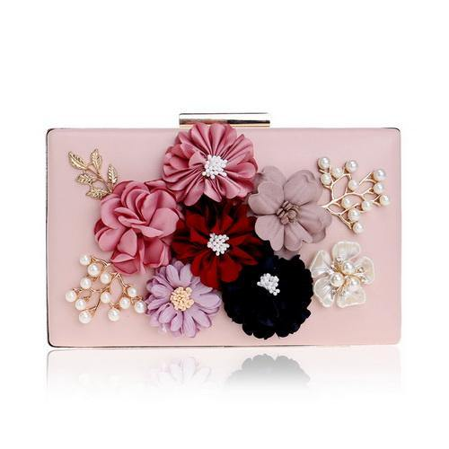 PINK 3-D FLORAL EMBELLISHED PEARL CLUTCH BAG WITH LONG STRAP